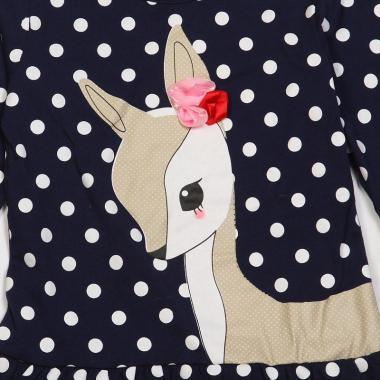 Трикотажное платье-туника для девочки БЕМБИ (синее), 2-6 лет
