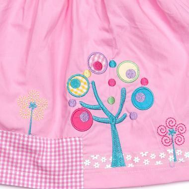 """Хлопковое платье для девочки Smile Rabbit """"Летний сад"""" (розовое), 1-3 года"""