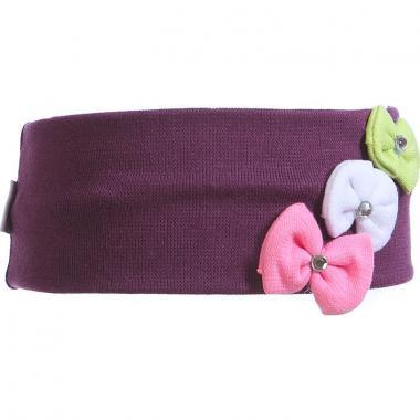 Трикотажная повязка для девочки Бантики (фиолетовая), 2-6 лет