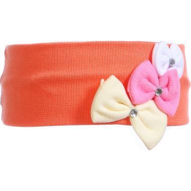 Трикотажная повязка для девочки Бантики (персик), 2-6 лет