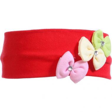 Трикотажная повязка для девочки Бантики (красная), 2-6 лет