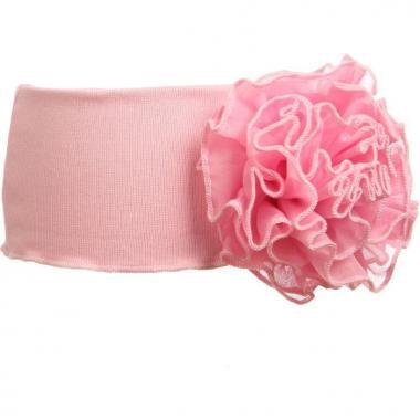 Трикотажная повязка для девочки с цветком (св.розовая), 3-7 лет