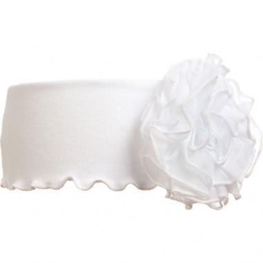 Трикотажная повязка для девочки с цветком (белая), 3-7 лет