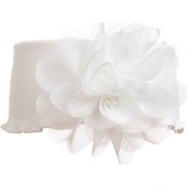 Трикотажная повязка для девочки с пионом (белая), 3-7 лет