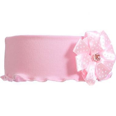 Трикотажная повязка для девочки ГОРОШЕК (розовая), 2-6 лет