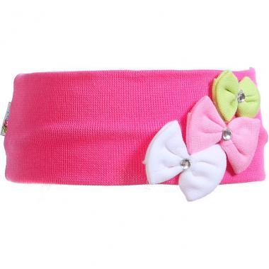 Трикотажная повязка для девочки Бантики (розовая), 2-6 лет