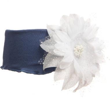 Трикотажная повязка для девочки с гербером (синяя), 3-7 лет