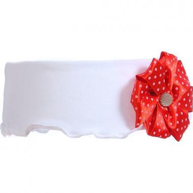 Трикотажная повязка для девочки ГОРОШЕК (белый/красный), 2-6 лет