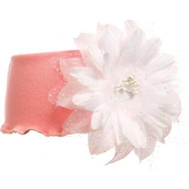 Трикотажная повязка для девочки с гербером (розовая), 3-7 лет
