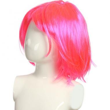 Парик карнавальный короткий цветной (розовый), 7-50 лет