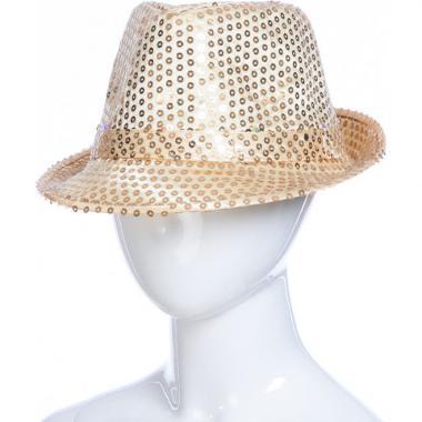 Карнавальная шляпа с подсветкой ДЭНС (бежевая), 12-60 лет