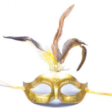 Карнавальная маска Перья (золото), 8-20 лет