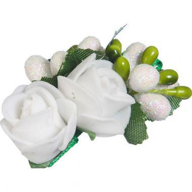 Заколка-прищепка для девочки (белый/зеленый)