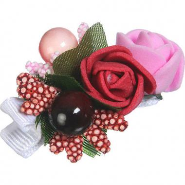 Заколка-прищепка для девочки (бургунди/розовый)