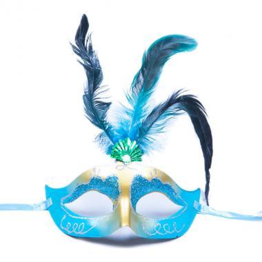 Карнавальная маска Перья (бирюза), 8-20 лет