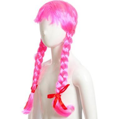 Парик карнавальный с косами (розовый), 7-50 лет