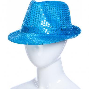 Карнавальная шляпа с подсветкой ДЭНС (голубая), 12-60 лет