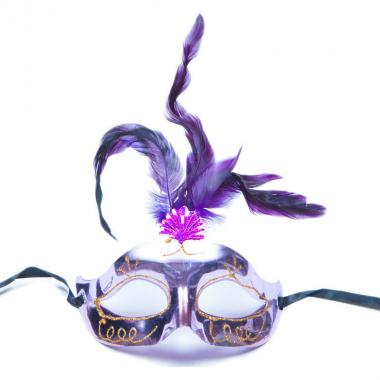 Карнавальная маска Перья (фиолетовый), 8-20 лет