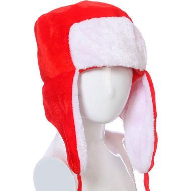Карнавальная шапка-ушанка (красная), 7-20 лет