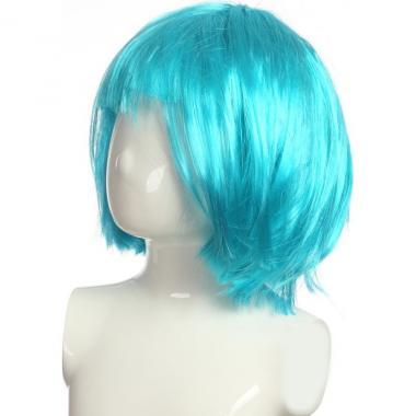 Парик карнавальный короткий цветной (голубой), 7-50 лет