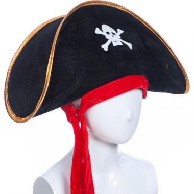 Карнавальная шляпа ПИРАТКА (черная), 12-60 лет