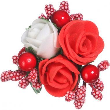 Заколка-резинка для девочки (красный/белый)