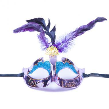 Карнавальная маска Перья (сиреневый), 8-20 лет