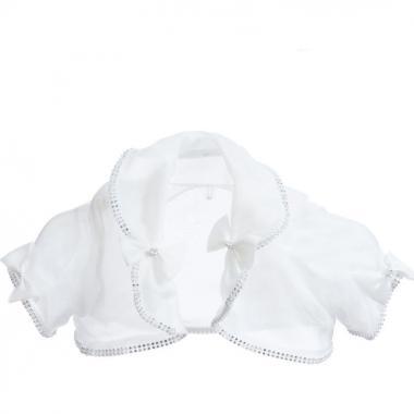 Нарядное болеро для девочки КЭТЛИН (белое), 2-7 лет