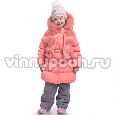 """Зимнее пальто с жилеткой KIKO для девочки """"Анжелина"""" (персик), 5-9 лет"""