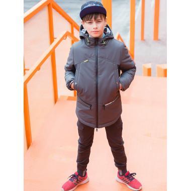 Демисезонная куртка АВРОРА для мальчика ДЭВИС (серый/черный), 7-13 лет