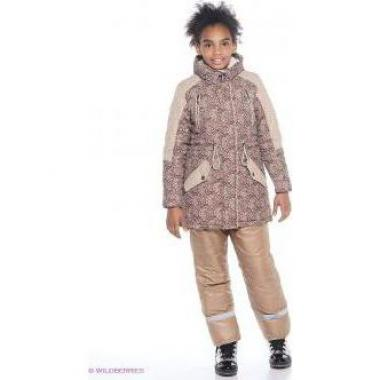 Пальто с подстежкой БАТИК для девочки ЛИРА (коричневое), 9-13 лет
