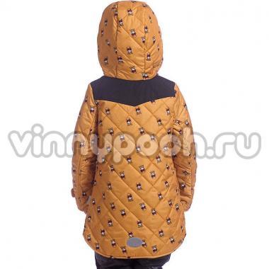 """Демисезонное пальто BOOM! by Orby для девочки (горчичный принт """"лисички""""), 1,5 года - 13 лет"""