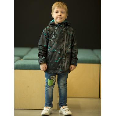 Ветровка АВРОРА для мальчика ЕЛИЗАР (серый/бирюза), 2-6 лет