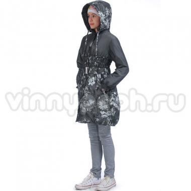 Весеннее пальто МК для девочки-подростка (серый/серебро), 9-13 лет