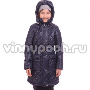 Демисезонное пальто BOOM! by Orby для девочки (темно-синий), 7-15 лет