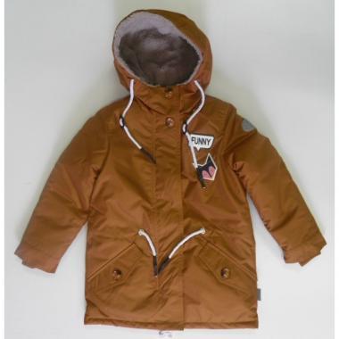 Демисезонная куртка-парка с подстежкой BOOM! by Orby для девочки (горчичный/шоколадный), 3-13 лет