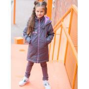 Демисезонное пальто АВРОРА для девочки ЛОРА (серый/сиреневый), 7-12 лет
