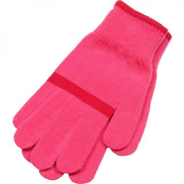Зимние перчатки Snovia для девочки с полосой (розовые), 8-13 лет