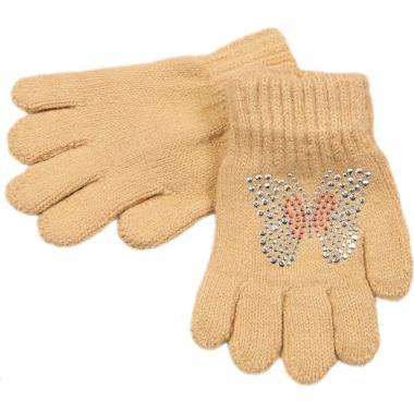 Перчатки МАРИЯ для девочки БАБОЧКА (капучино), 2-9 лет