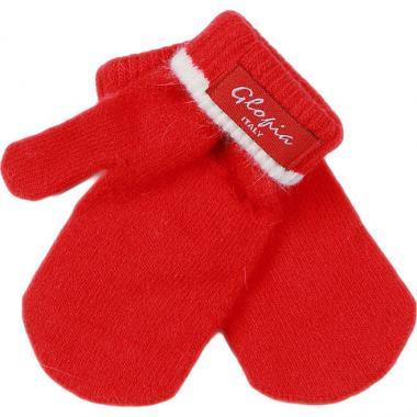 Зимние варежки Glopia для девочки однотонные (красные), 1-6 лет