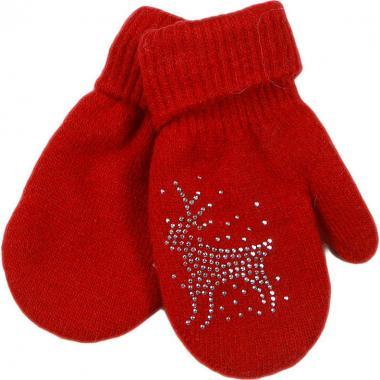 Зимние варежки для девочки СЕВЕРНОЕ СИЯНИЕ (красный), 4-9 лет