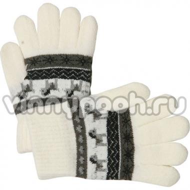 """Перчатки с орнаментом для девочки """"Лошадка"""" (белый), 2-4 лет"""