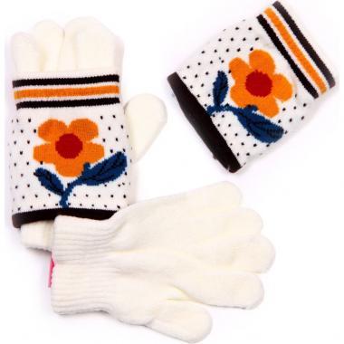 Зимние двойные перчатки для девочки с митенками (белые), 3-6 лет