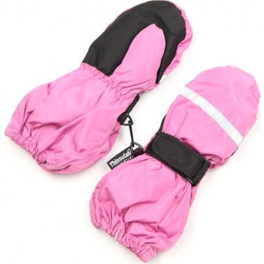 Зимние варежки-краги для девочки на тинсулейте (розовые), 1-8 лет