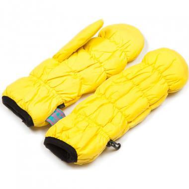 Зимние варежки SAZAS для девочки на флисе (желтый), 10-14 лет