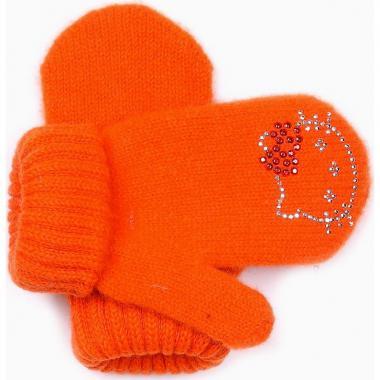 """Зимние варежки для девочки """"Китти"""" (оранжевые), 1-3 года"""