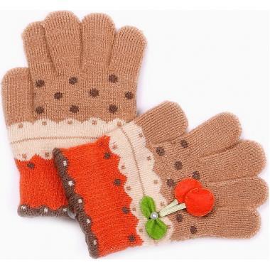 """Перчатки с орнаментом для девочки """"Вишенка"""" (бежевые), 3-7 лет"""