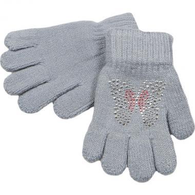 Перчатки МАРИЯ для девочки БАБОЧКА (серые), 2-9 лет