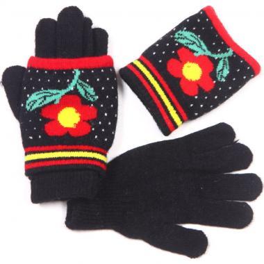 Зимние двойные перчатки для девочки с митенками (черные), 3-7 лет