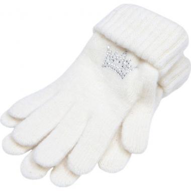 """Зимние перчатки ACCESSORIES для девочки """"Корона"""" (молоко), 8-16 лет"""